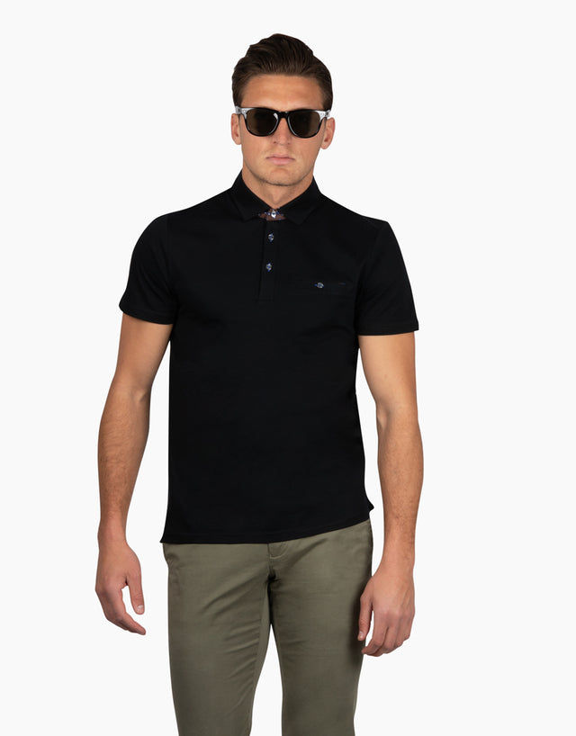 Portofino Black Short Sleeve Polo Shirt
