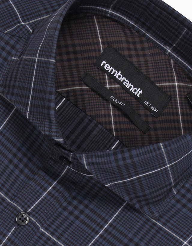 Pierce navy check business shirt