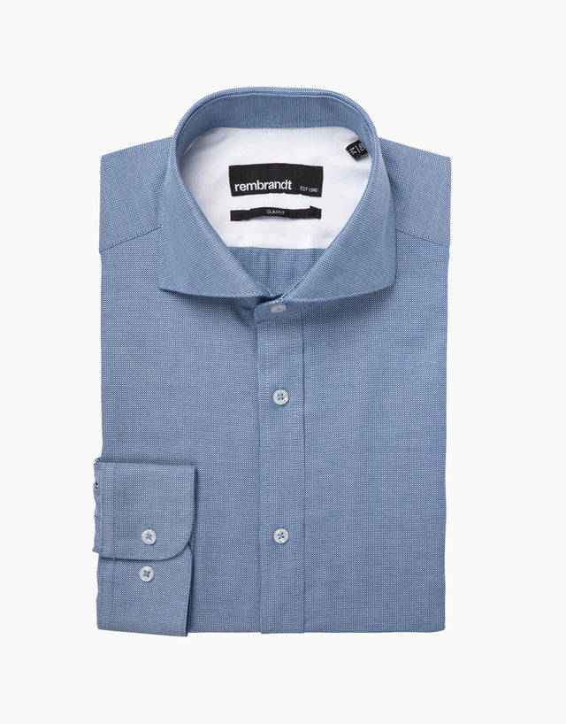 Brosnan blue micro-design shirt