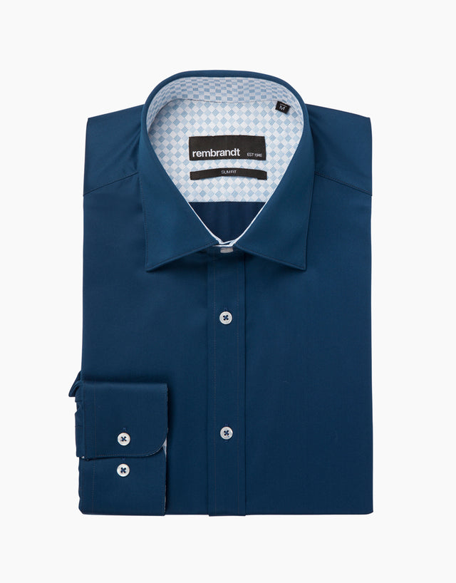Barbican Navy Twill Tailored Shirt