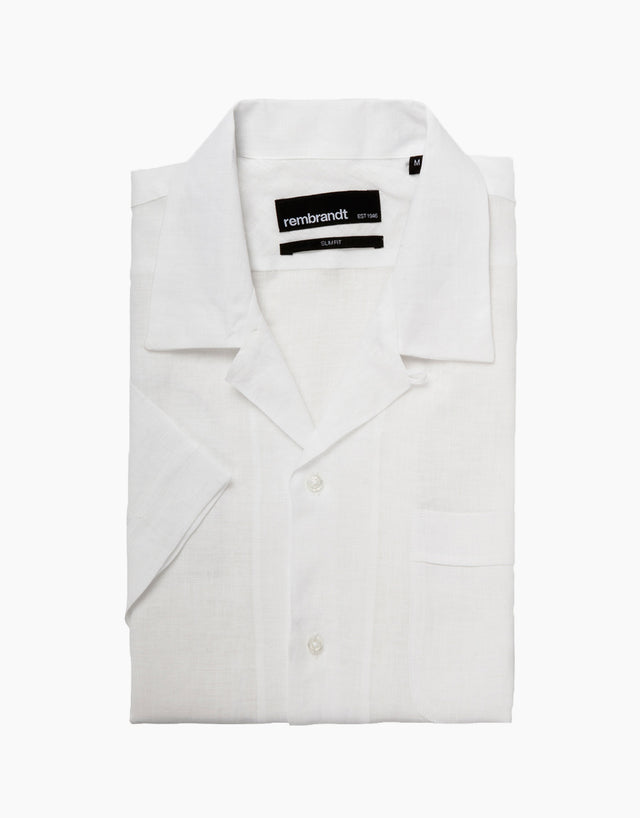 Hahei White Linen Casual Short Shirt