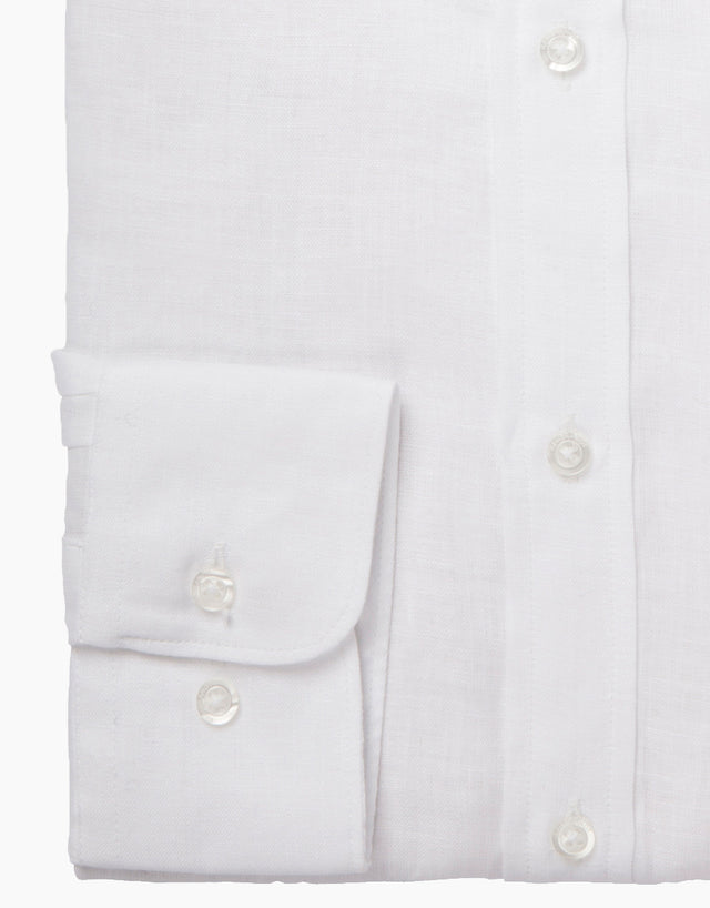 Papamoa White Linen Casual Shirt