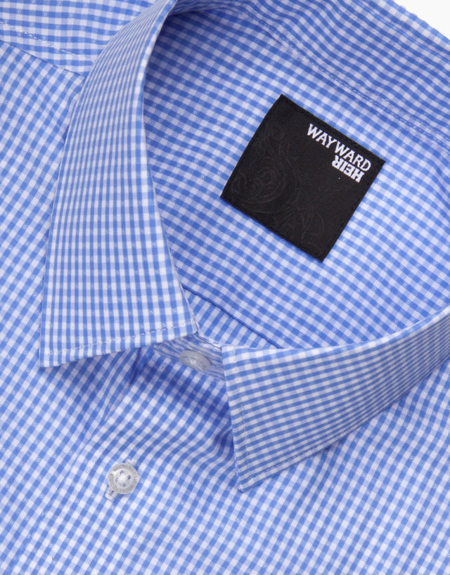 Brooklyn Light Blue Gingham Tailored Shirt