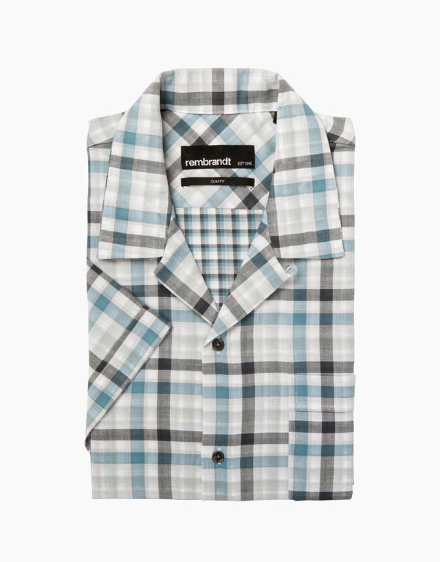 Hahei Light Blue Check Short Sleeve Shirt
