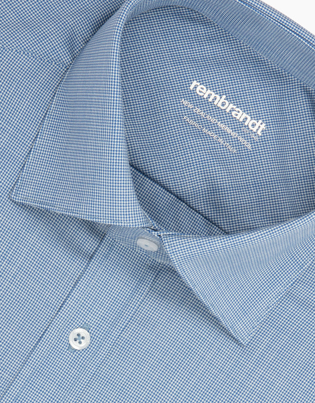 McCahon Blue Dogstooth Wool Tailored Shirt