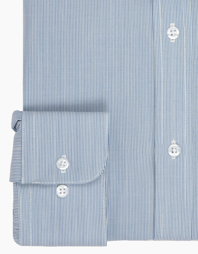 McCahon Blue and White Stripe Wool Tailored Shirt