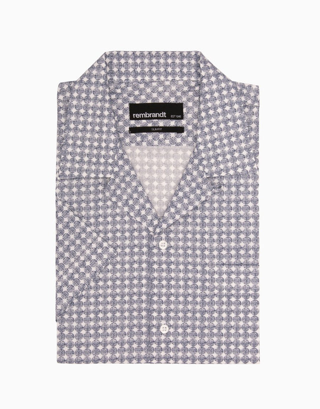 Hahei Blue and White Dot Casual Short Sleeve Shirt