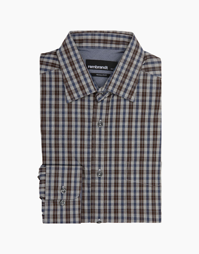 Papamoa Brown Check Casual Shirt