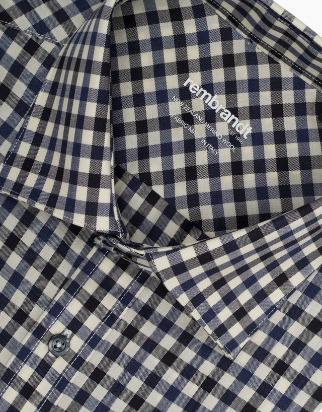 McCahon Black Gingham Wool Tailored Shirt