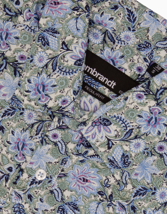 Papamoa Blue Floral Print Casual Shirt