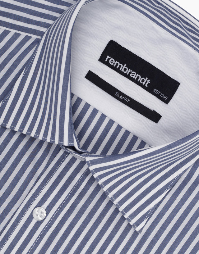 London Navy Stripe Tailored Shirt