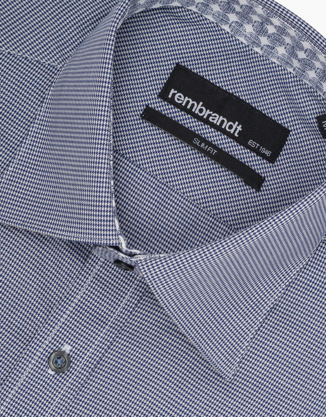Barbican Navy Dogtooth Smart Casual Shirt