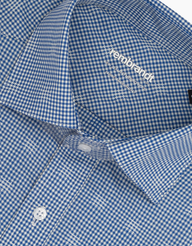 McCahon Blue Check Merino Wool Shirt