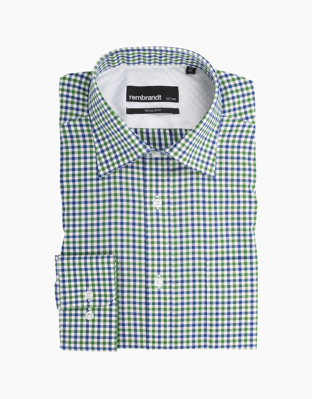 Sinatra Green Check Dress Shirt
