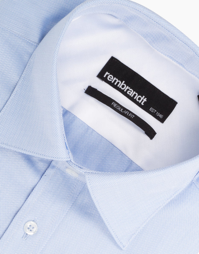 Sinatra Blue Herringbone Dress Shirt