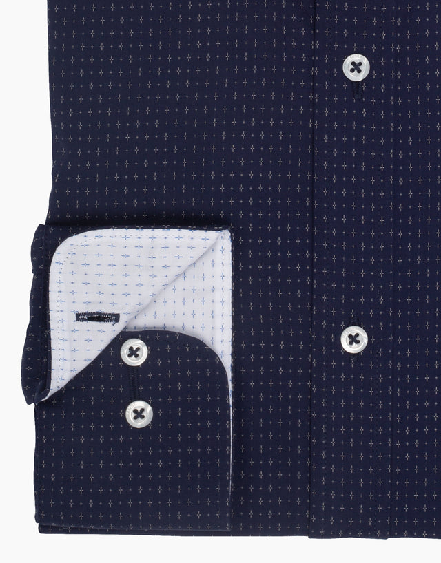 Awaroa navy & white dress shirt