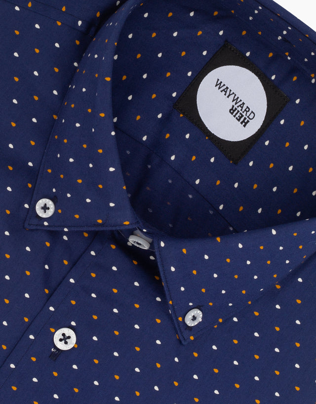 Kelburn Navy Raindrop Printed Shirt