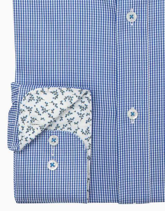 Barbican Blue Micro-design Smart Casual Shirt