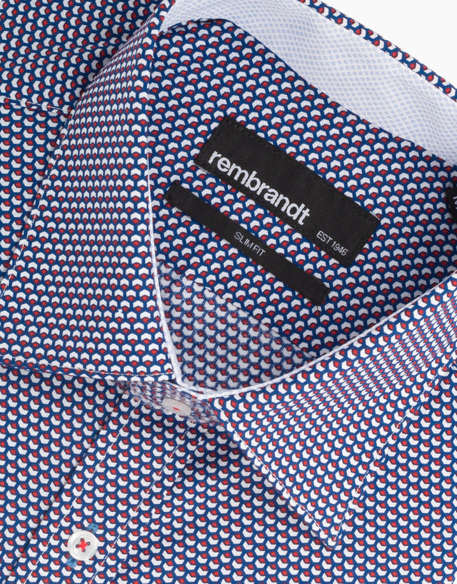 Barbican blue geometric shirt
