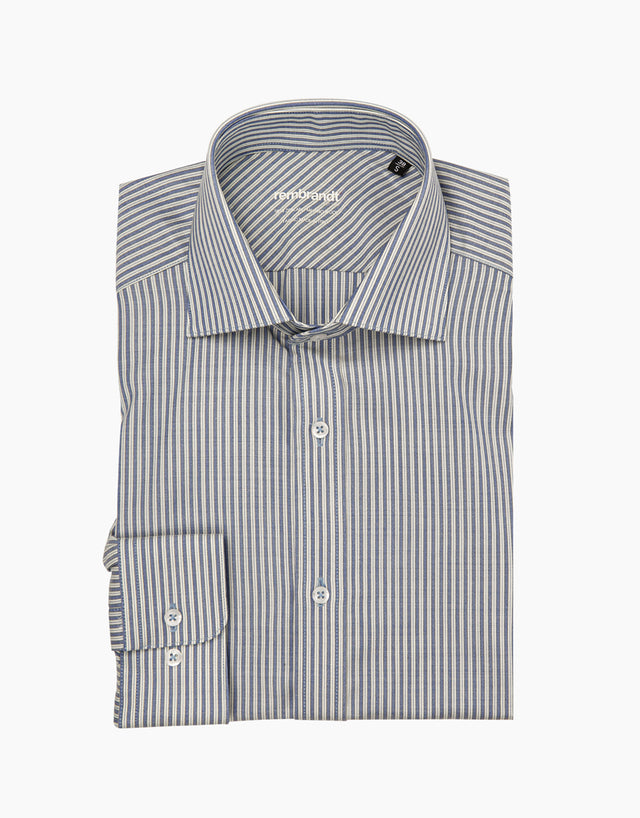 McCahon blue stripe merino wool shirt