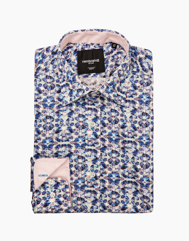 Barbican blue kaleidoscope dress shirt