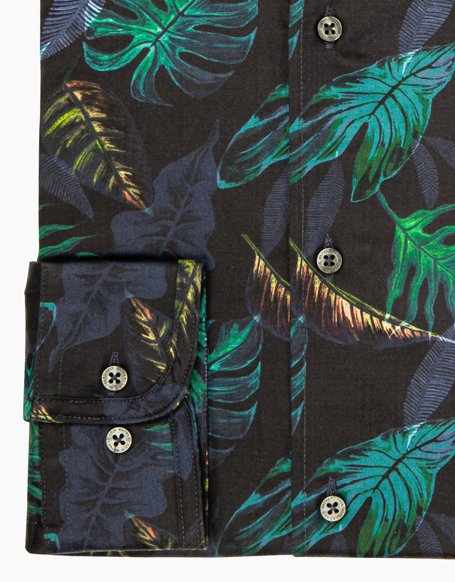 Kelburn navy tropical shirt