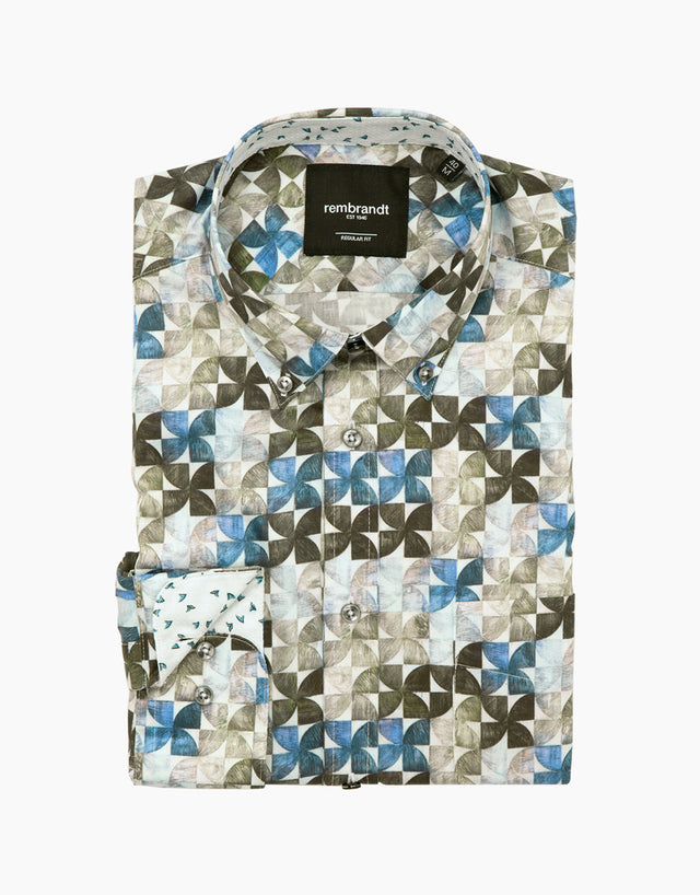 Awaroa geometric floral shirt