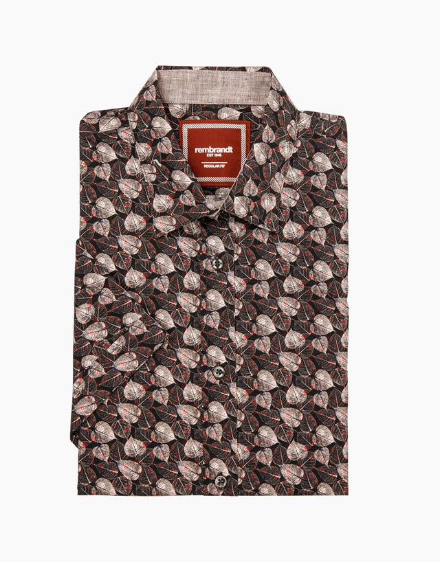 Raglan autumn leaves short sleeve shirt