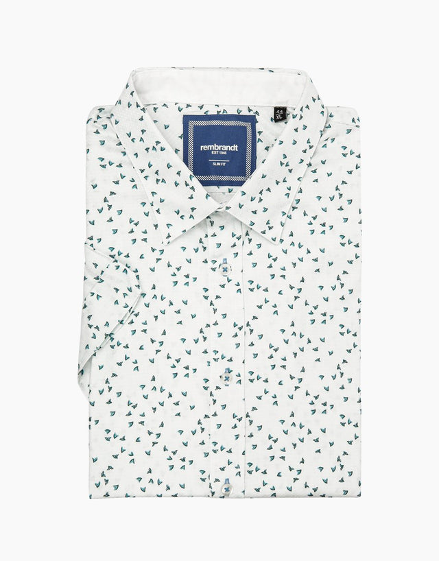 Waihi white printed short sleeve shirt