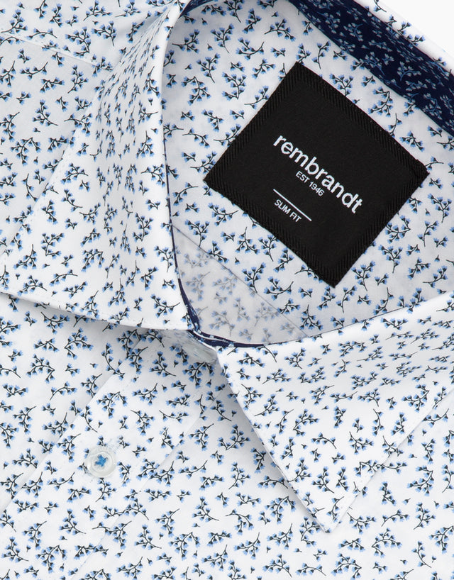 Barbican white floral dress shirt