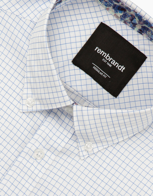 Awaroa white & blue check shirt