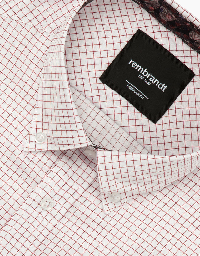 Awaroa white & red check shirt