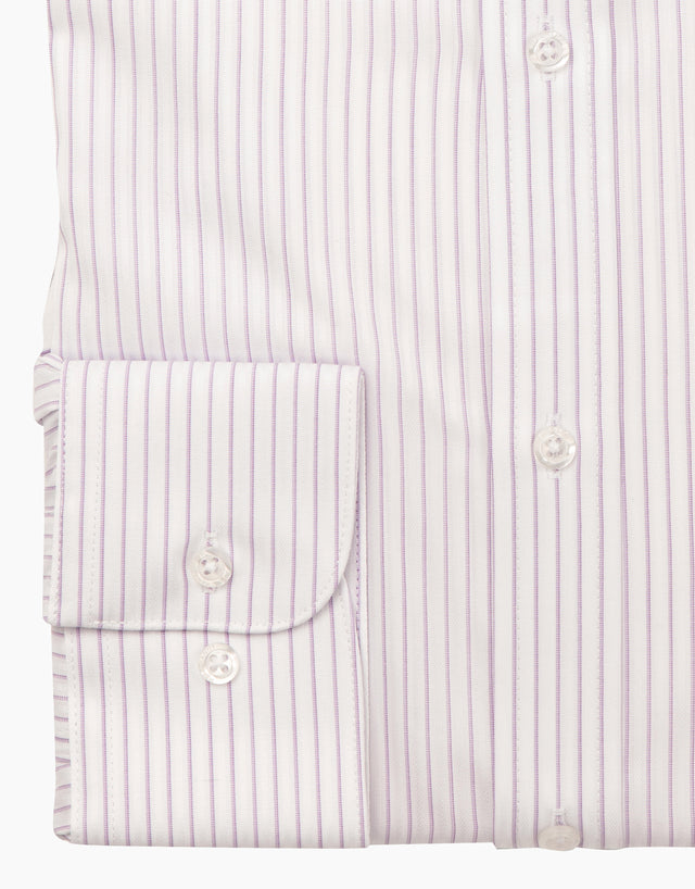 Sinatra white & purple stripe business shirt