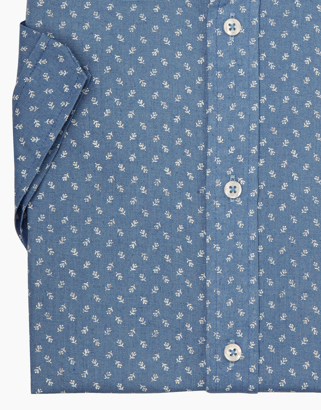 Waihi blue floral short sleeve shirt