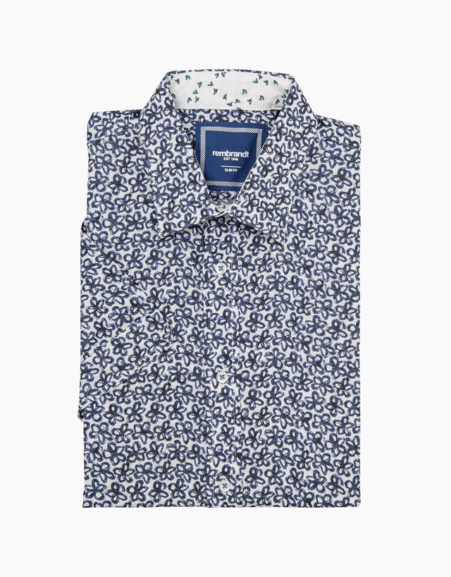 Waihi white & blue floral short sleeve shirt