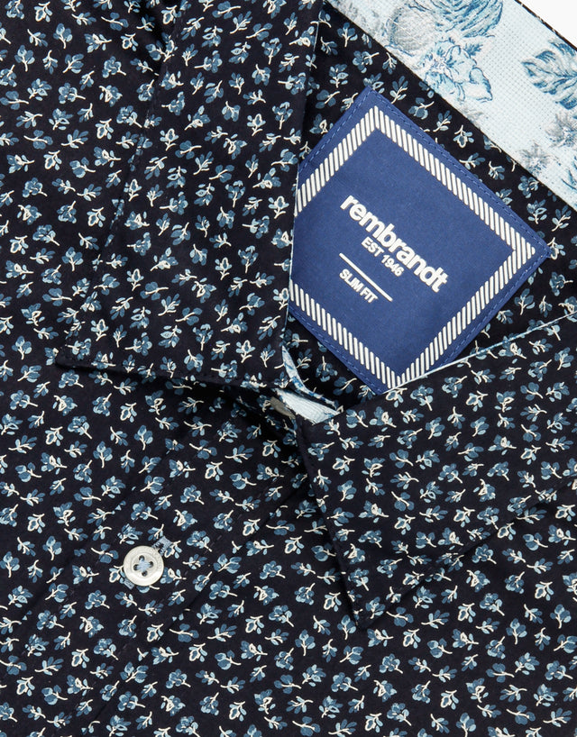 Waihi navy floral short sleeve shirt