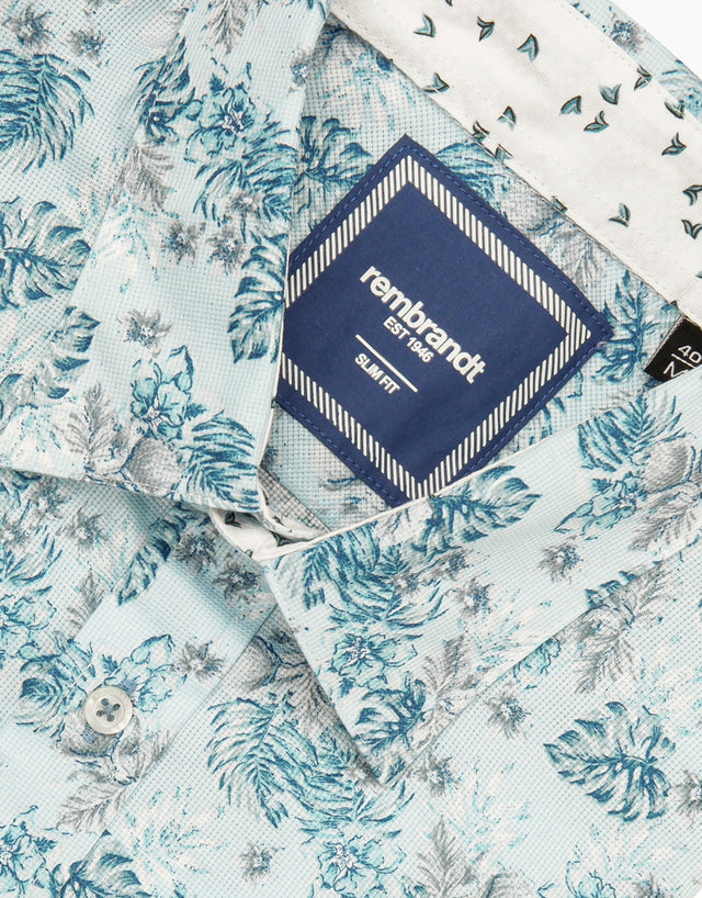 Waihi blue tropical short sleeve shirt