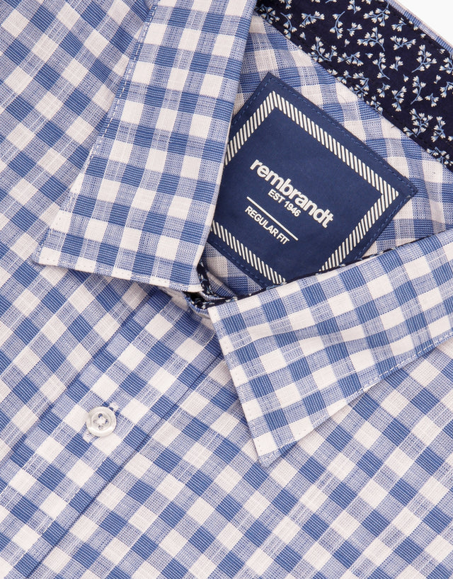 Raglan blue gingham short sleeve shirt