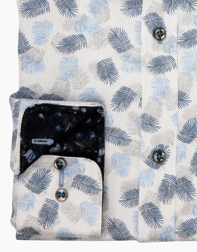 Barbican light blue leaves shirt