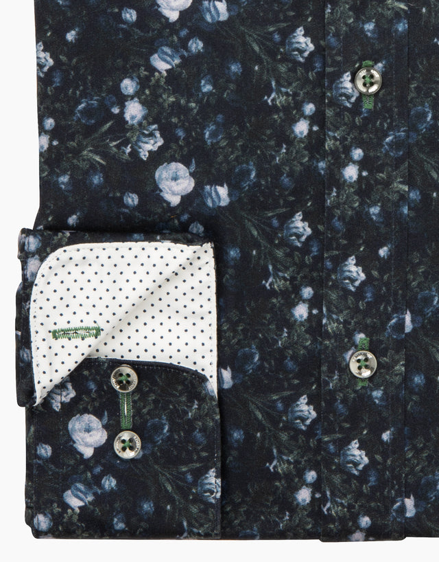 Barbican Navy Floral Dress Shirt