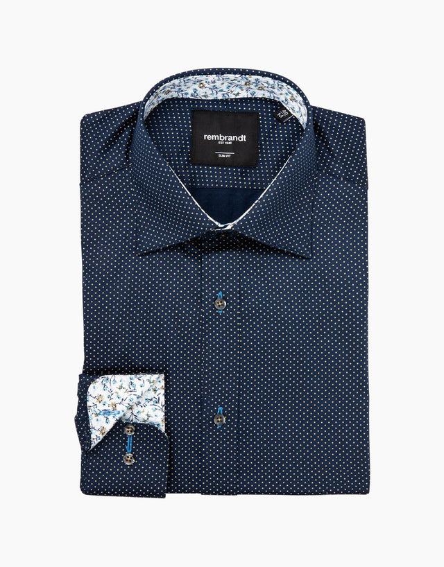 Barbican navy dot shirt