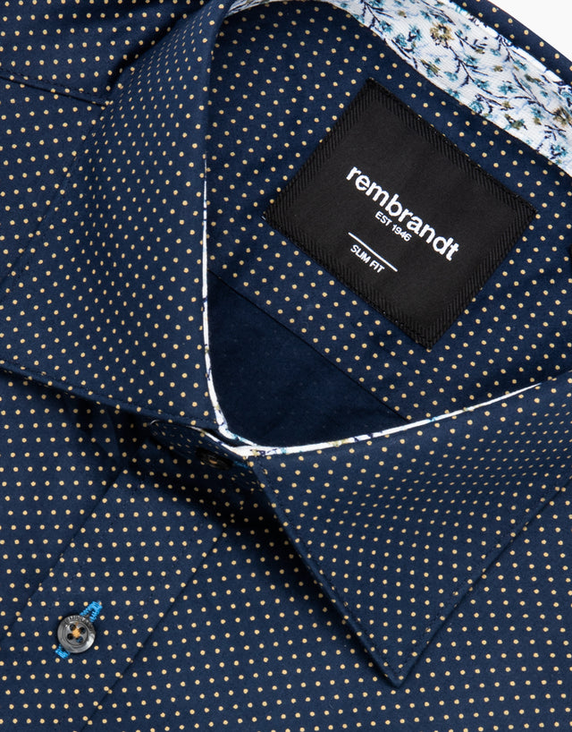 Barbican Navy Dot Dress Shirt