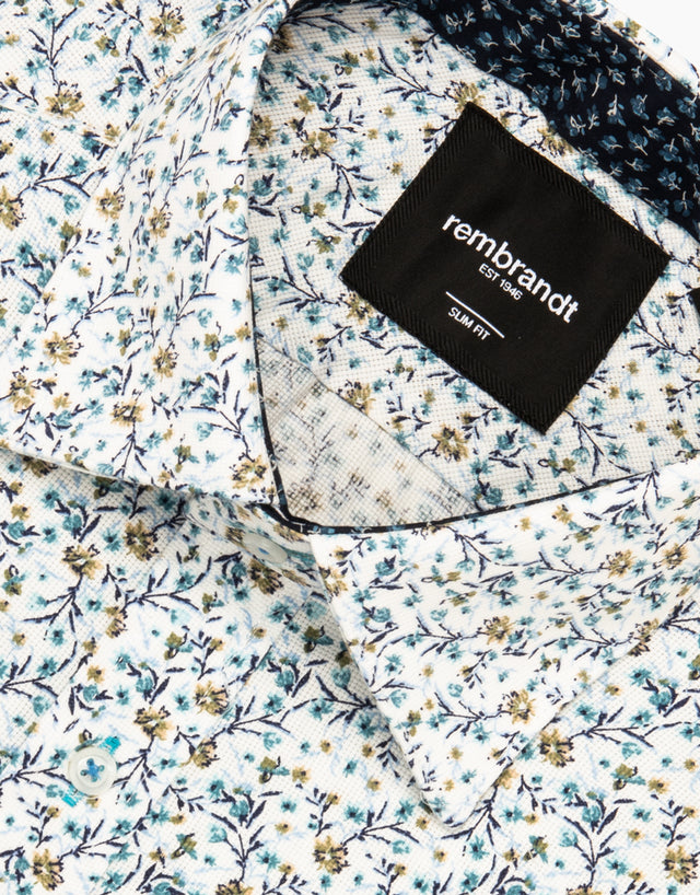 Barbican light blue floral shirt