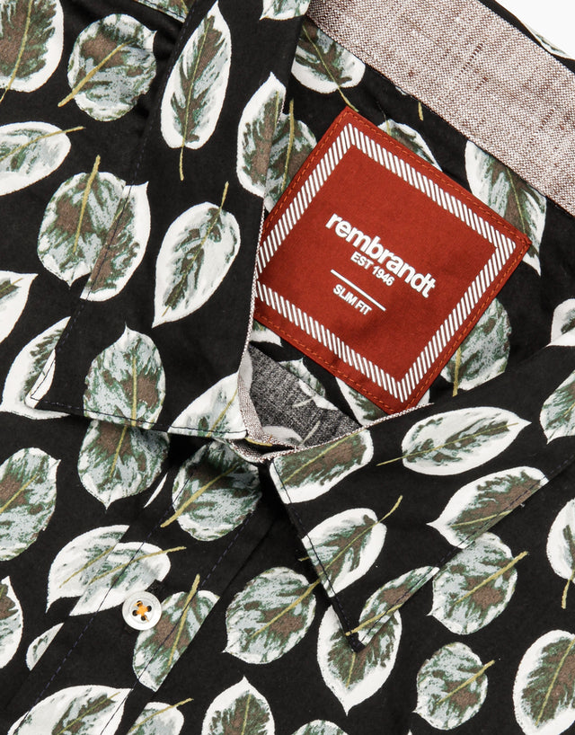 Waihi black leaves short sleeve shirt