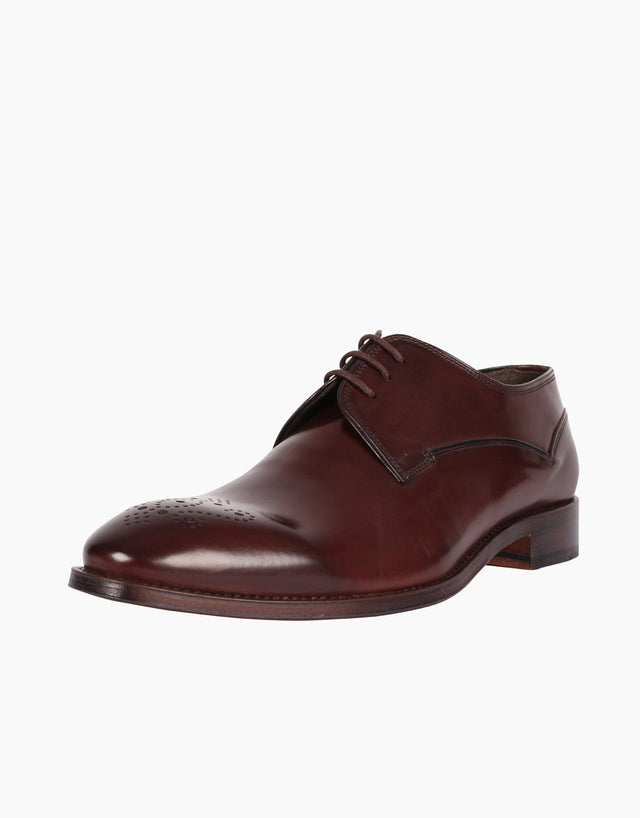 Derby Chocolate Punched Toe Leather Shoe