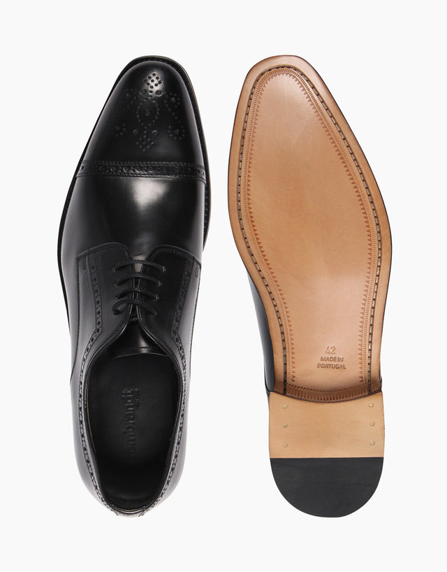 Derby Black semi-brogue shoes