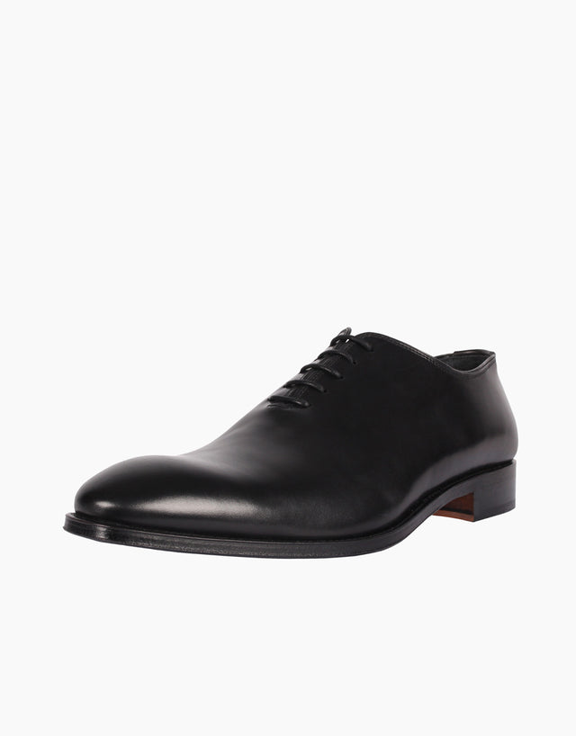 Whole-Cut Black Leather Shoes