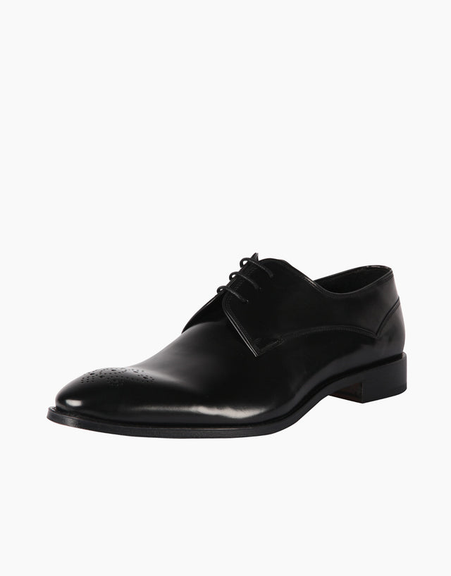 Black Punched Toe Derby