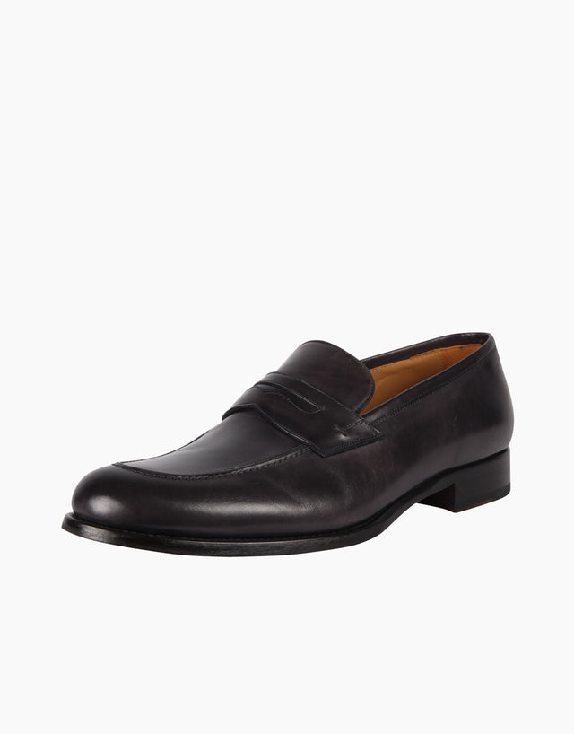 Dark Grey Penny Loafer Shoes
