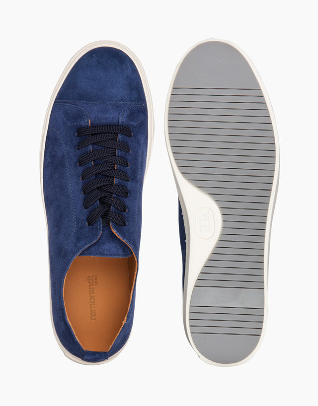 Navy Suede Cap-Toe Sneakers